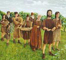 Artists impression of a Bronze Age funerial procession